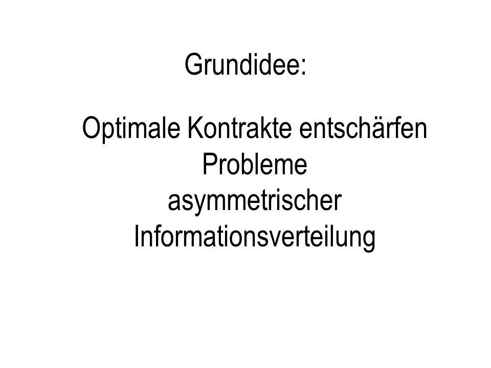 Grundidee: Optimale Kontrakte entschärfen Probleme asymmetrischer Informationsverteilung