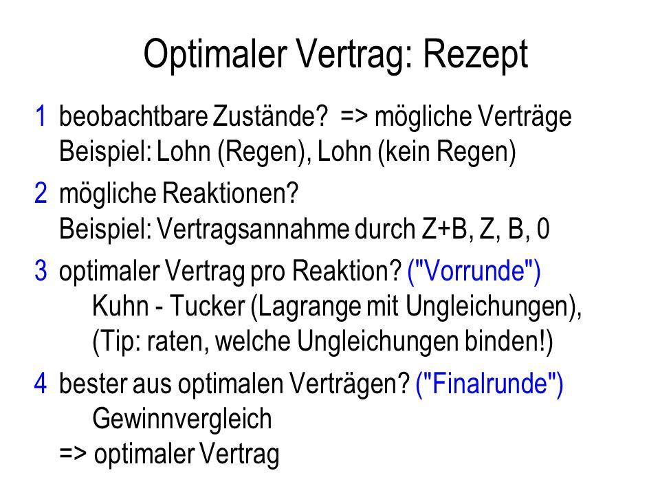 Optimaler Vertrag: Rezept 1beobachtbare Zustände? => mögliche Verträge Beispiel: Lohn (Regen), Lohn (kein Regen) 2mögliche Reaktionen? Beispiel: Vertr