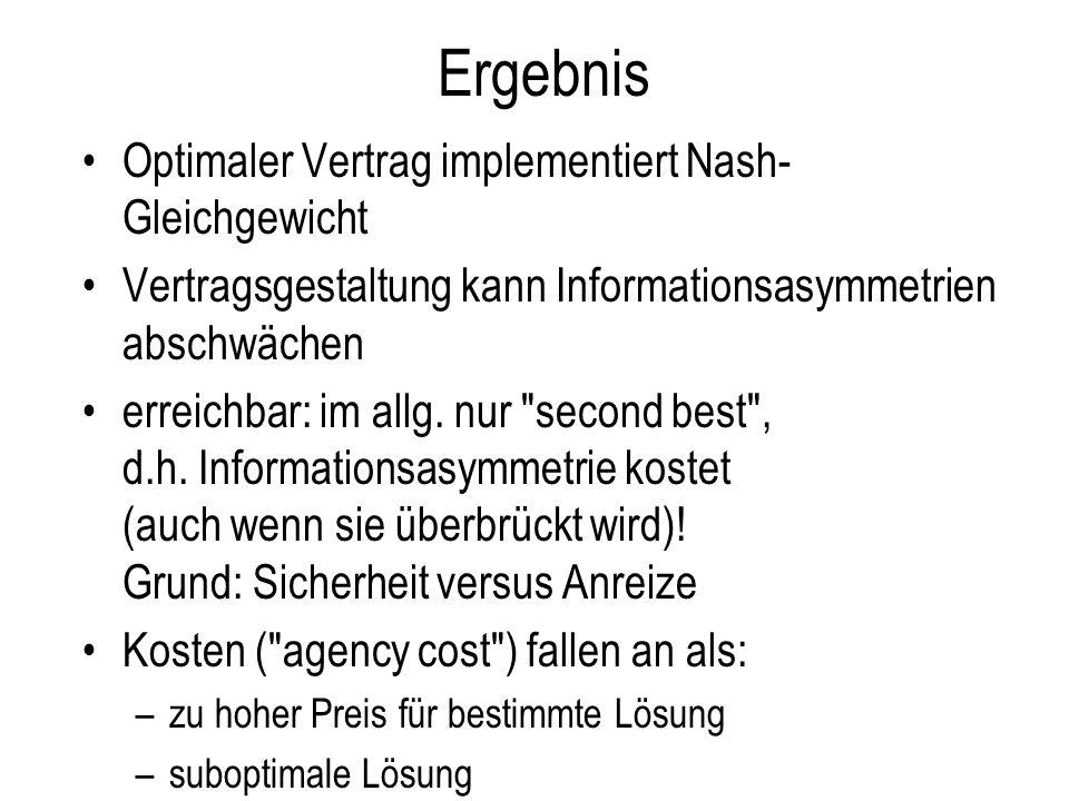 Ergebnis Optimaler Vertrag implementiert Nash- Gleichgewicht Vertragsgestaltung kann Informationsasymmetrien abschwächen erreichbar: im allg. nur