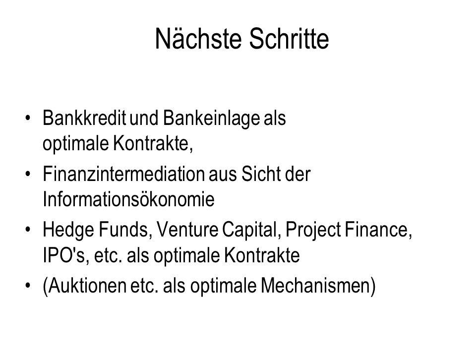 Nächste Schritte Bankkredit und Bankeinlage als optimale Kontrakte, Finanzintermediation aus Sicht der Informationsökonomie Hedge Funds, Venture Capit