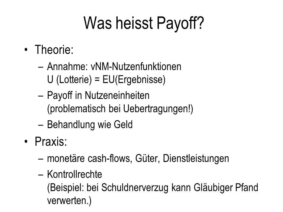 Was heisst Payoff? Theorie: –Annahme: vNM-Nutzenfunktionen U (Lotterie) = EU(Ergebnisse) –Payoff in Nutzeneinheiten (problematisch bei Uebertragungen!