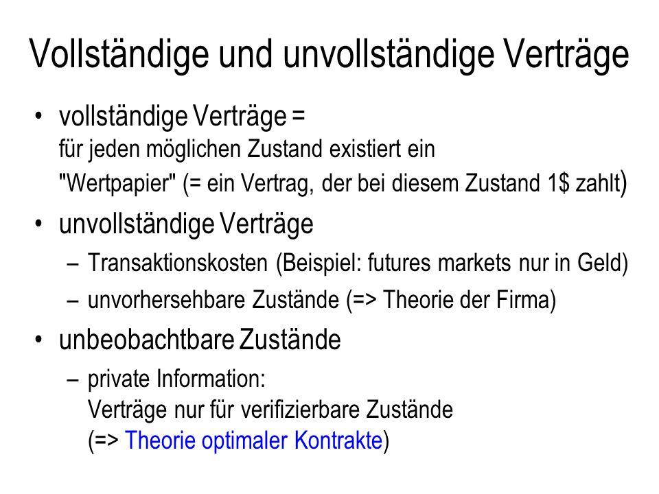 Private Information : Modellierung hidden information => adverse selection t t private Info geheime Aktion Vertrag Zufall =>Endzustand => Payoffs hidden action => moral hazard