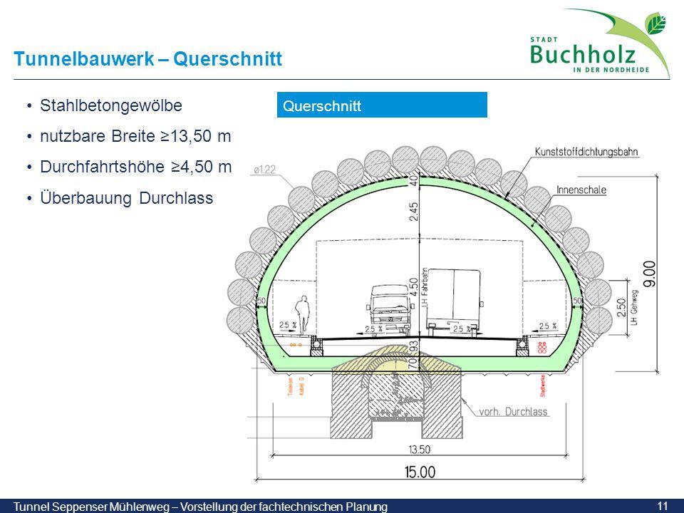 11 Tunnel Seppenser Mühlenweg – Vorstellung der fachtechnischen Planung Tunnelbauwerk – Querschnitt Querschnitt Stahlbetongewölbe nutzbare Breite ≥13,