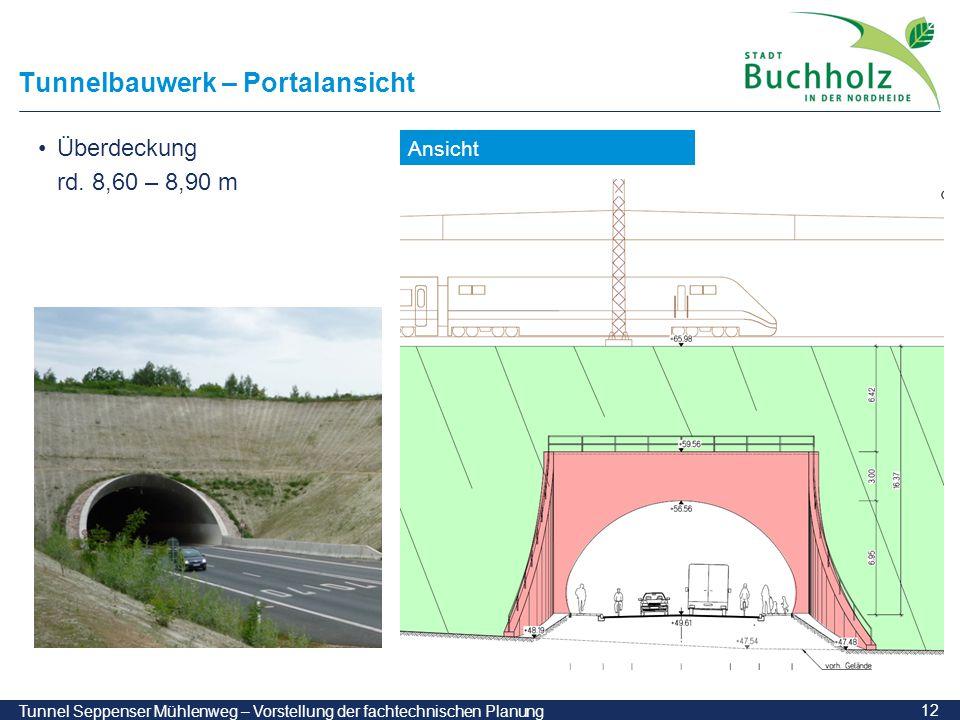 12 Tunnel Seppenser Mühlenweg – Vorstellung der fachtechnischen Planung Tunnelbauwerk – Portalansicht Ansicht Überdeckung rd. 8,60 – 8,90 m