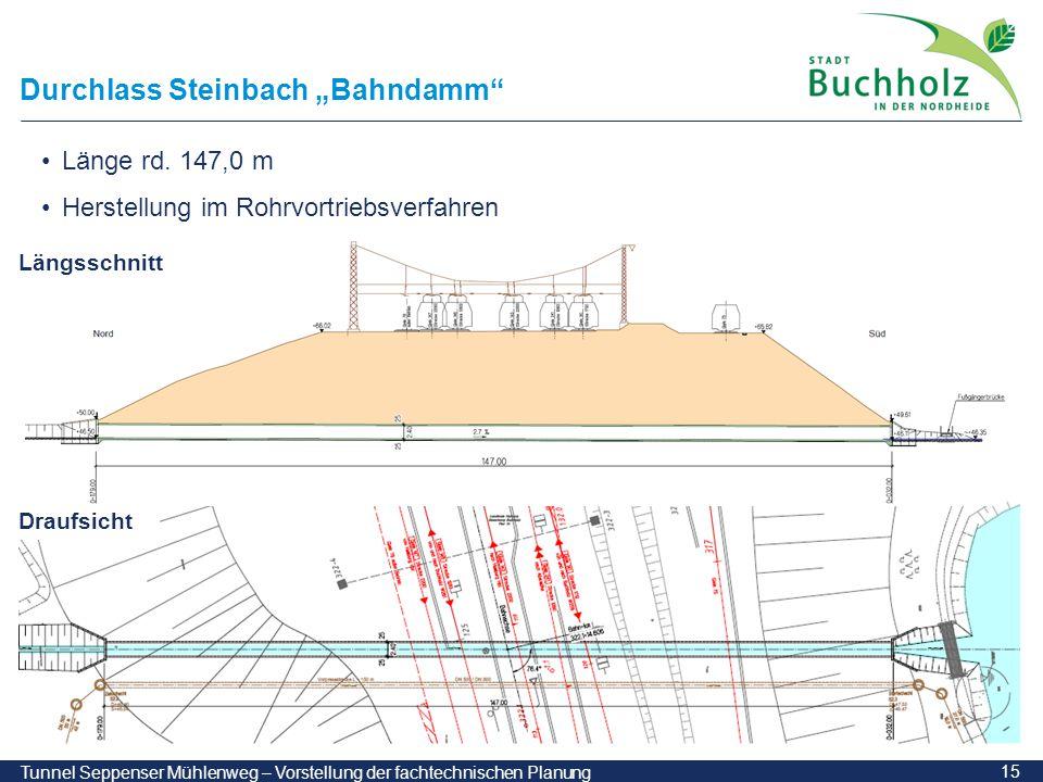 """15 Tunnel Seppenser Mühlenweg – Vorstellung der fachtechnischen Planung Durchlass Steinbach """"Bahndamm"""" Länge rd. 147,0 m Herstellung im Rohrvortriebsv"""