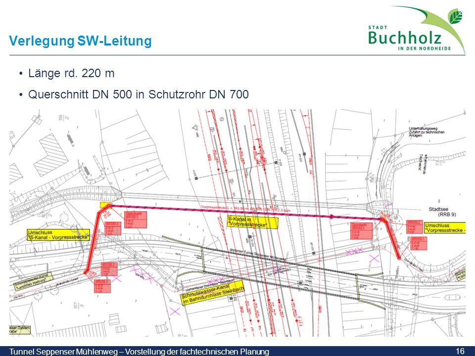 16 Tunnel Seppenser Mühlenweg – Vorstellung der fachtechnischen Planung Verlegung SW-Leitung Länge rd. 220 m Querschnitt DN 500 in Schutzrohr DN 700