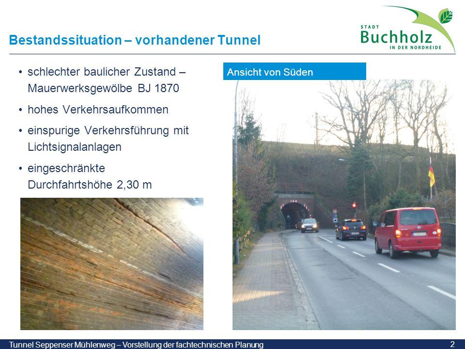 3 Tunnel Seppenser Mühlenweg – Vorstellung der fachtechnischen Planung Bestandssituation – vorhandener Tunnel Situation im Tunnel Beengte Verhältnisse Fahrbahnbreite rd.