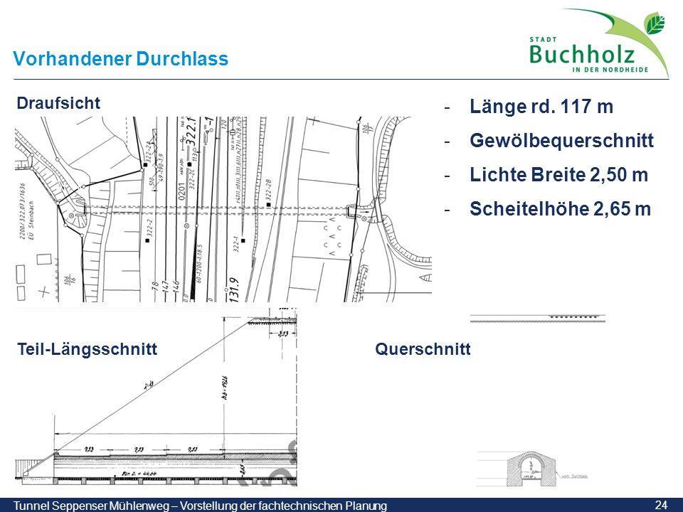 24 Tunnel Seppenser Mühlenweg – Vorstellung der fachtechnischen Planung Vorhandener Durchlass -Länge rd. 117 m -Gewölbequerschnitt -Lichte Breite 2,50