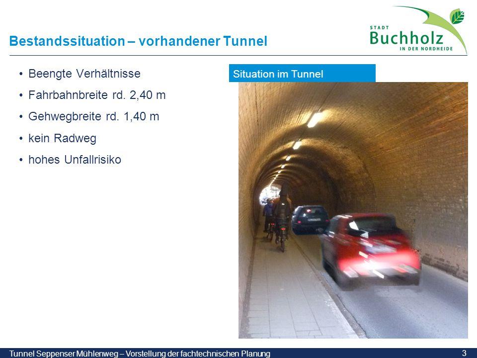 4 Tunnel Seppenser Mühlenweg – Vorstellung der fachtechnischen Planung Bestandssituation – vorhandener Durchlass Durchlass gemauertes Gewölbe Baujahr 1870 B / H = 2,50 / 2,65 m Schmutzwasserleitung DN 500
