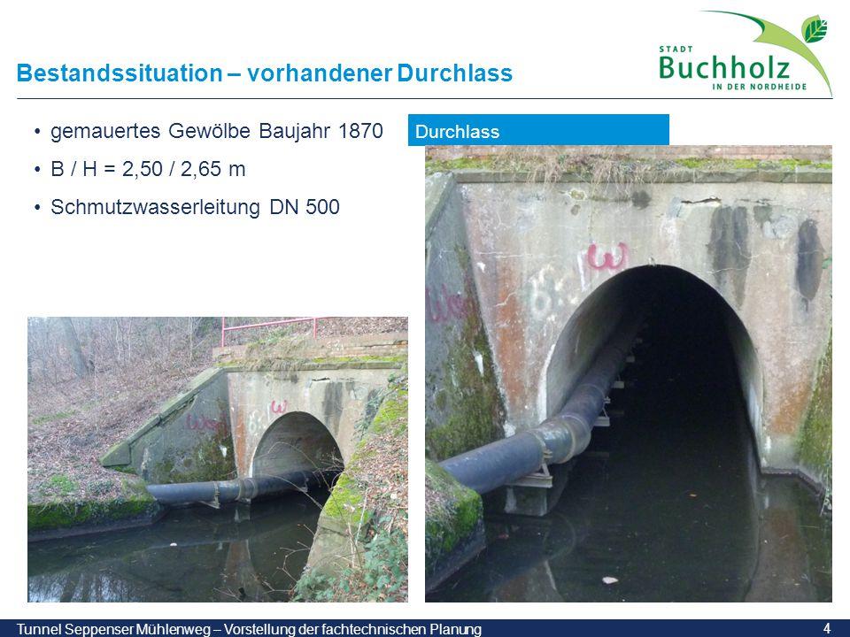 4 Tunnel Seppenser Mühlenweg – Vorstellung der fachtechnischen Planung Bestandssituation – vorhandener Durchlass Durchlass gemauertes Gewölbe Baujahr