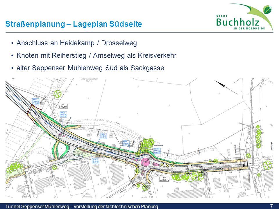 18 Tunnel Seppenser Mühlenweg – Vorstellung der fachtechnischen Planung Phase 1: Baugrube und Tunnel offene Bauweise Längsschnitt Draufsicht Querschnitt