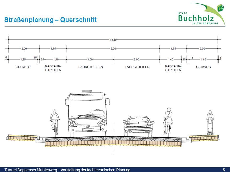 9 Tunnel Seppenser Mühlenweg – Vorstellung der fachtechnischen Planung Tunnelbauwerk – Draufsicht Kreuzung mit vorhandenem Durchlass Steinbach vor dem Tunnelbau wird der vorhandene Durchlass verfüllt