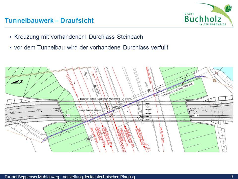 9 Tunnel Seppenser Mühlenweg – Vorstellung der fachtechnischen Planung Tunnelbauwerk – Draufsicht Kreuzung mit vorhandenem Durchlass Steinbach vor dem