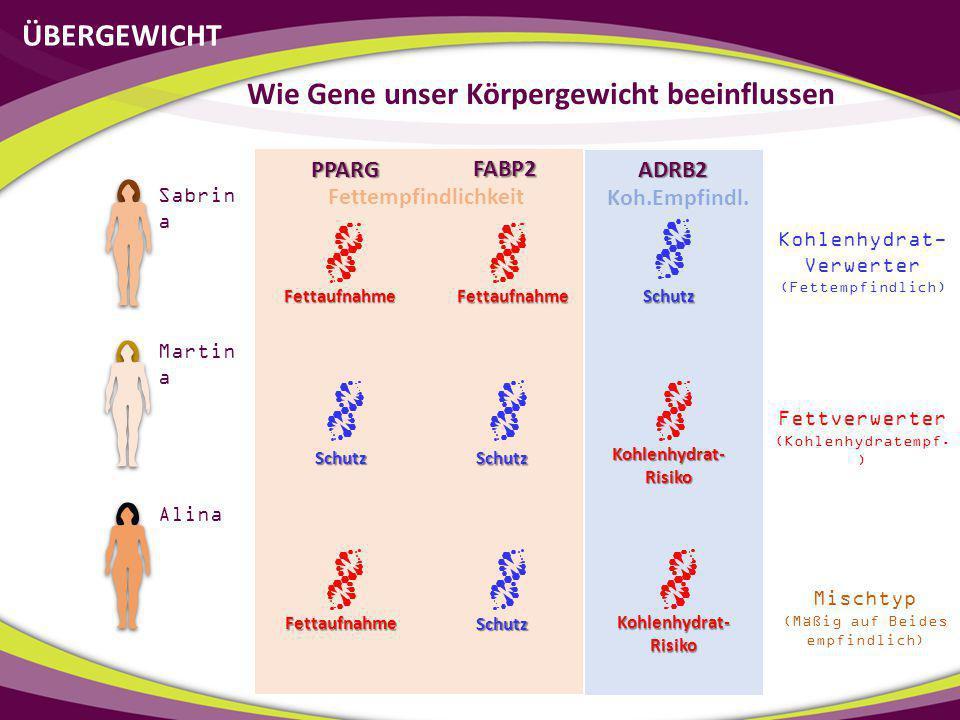 ÜBERGEWICHT Wie Gene unser Körpergewicht beeinflussen Sabrin a Martin a Alina PPARG FABP2 Fettaufnahme Fettaufnahme Fettaufnahme Schutz Schutz Schutz