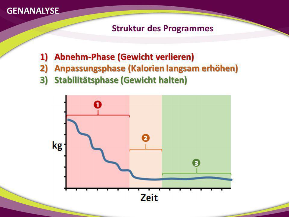 GENANALYSE Struktur des Programmes 1)Abnehm-Phase (Gewicht verlieren) 2)Anpassungsphase (Kalorien langsam erhöhen) 3)Stabilitätsphase (Gewicht halten)