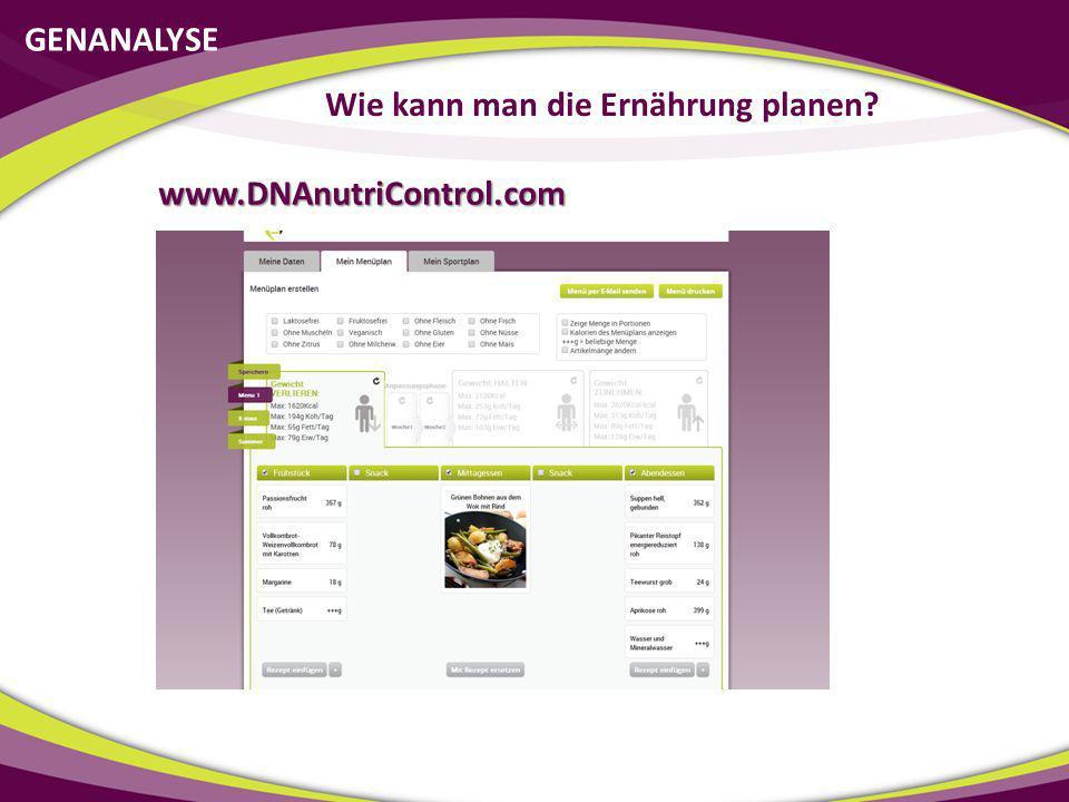 GENANALYSE Wie kann man die Ernährung planen? www.DNAnutriControl.com