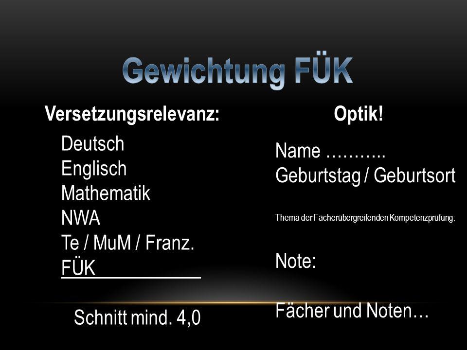 Deutsch Englisch Mathematik NWA Te / MuM / Franz. FÜK Schnitt mind. 4,0 Versetzungsrelevanz:Optik! Name ……….. Geburtstag / Geburtsort Thema der Fächer