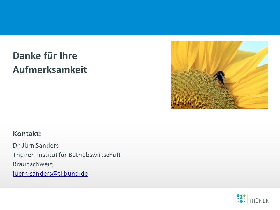 Sanders Gründe warum kein Neueinstieg bzw. Ausstieg aus dem Ökolandbau erfolgt 11.11.2014 Danke für Ihre Aufmerksamkeit Kontakt: Dr. Jürn Sanders Thün