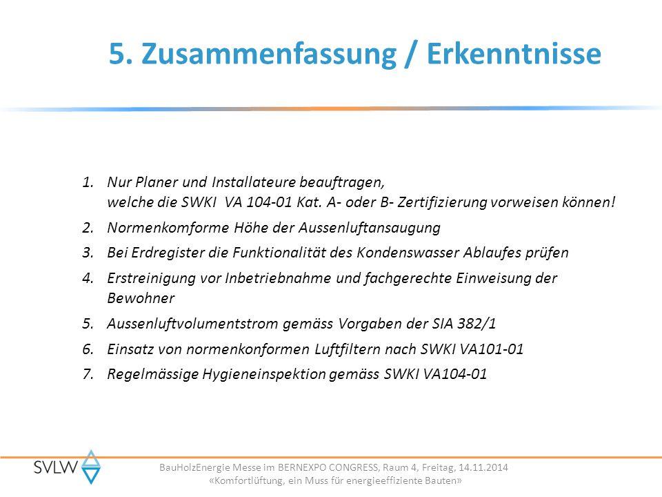 BauHolzEnergie Messe im BERNEXPO CONGRESS, Raum 4, Freitag, 14.11.2014 «Komfortlüftung, ein Muss für energieeffiziente Bauten» 5.