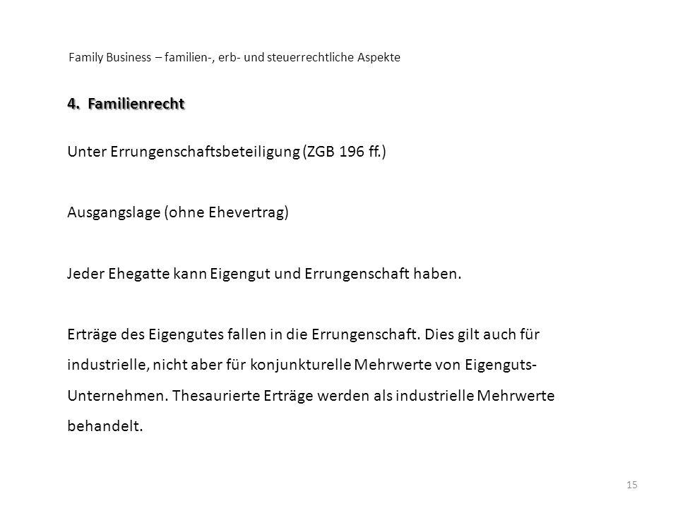 Family Business – familien-, erb- und steuerrechtliche Aspekte 15 4. Familienrecht Unter Errungenschaftsbeteiligung (ZGB 196 ff.) Ausgangslage (ohne E