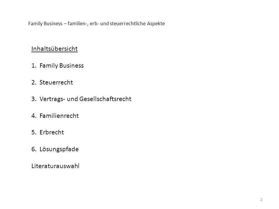 Inhaltsübersicht 1.Family Business 2.Steuerrecht 3.Vertrags- und Gesellschaftsrecht 4.Familienrecht 5.Erbrecht 6.Lösungspfade Literaturauswahl 2 Famil