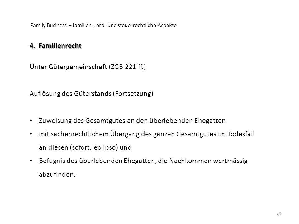 Family Business – familien-, erb- und steuerrechtliche Aspekte 29 4. Familienrecht Unter Gütergemeinschaft (ZGB 221 ff.) Auflösung des Güterstands (Fo