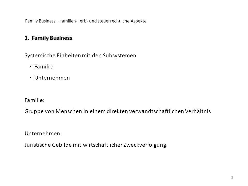 3 1.Family Business Systemische Einheiten mit den Subsystemen Familie Unternehmen Familie: Gruppe von Menschen in einem direkten verwandtschaftlichen