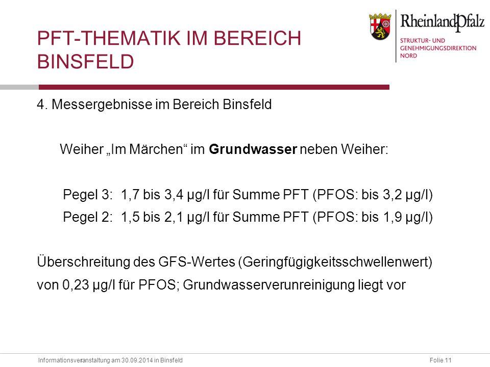 """Informationsveranstaltung am 30.09.2014 in BinsfeldFolie 11 r 4. Messergebnisse im Bereich Binsfeld Weiher """"Im Märchen"""" im Grundwasser neben Weiher: P"""