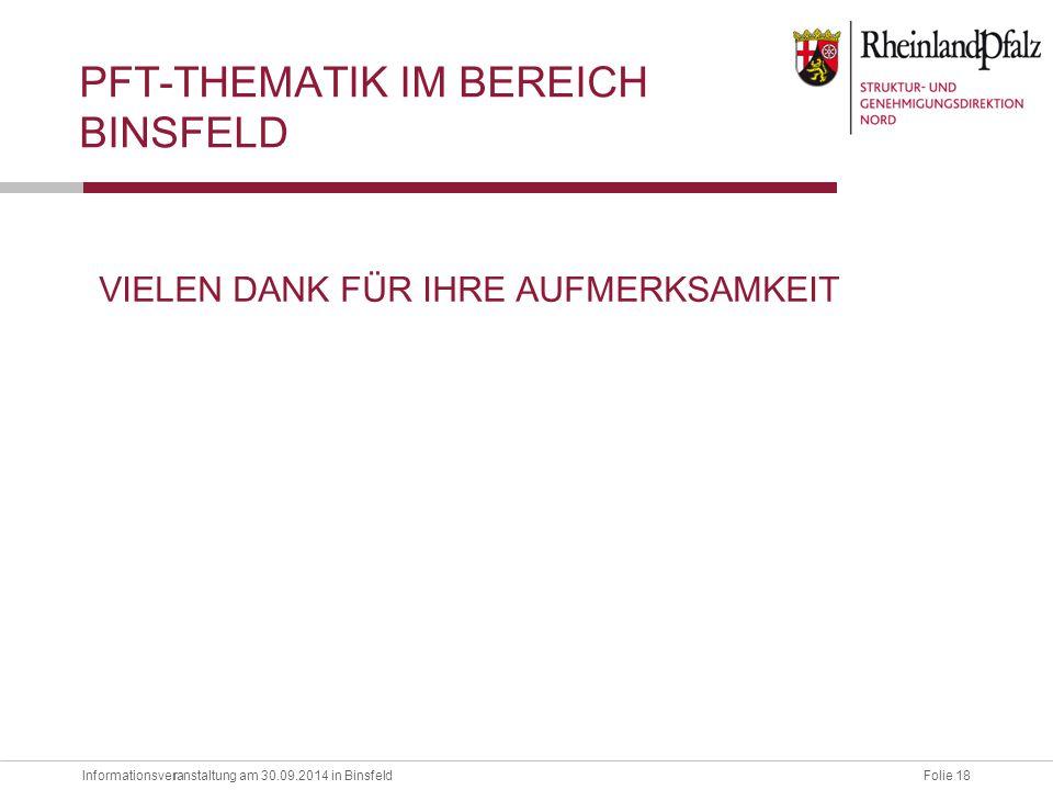 Informationsveranstaltung am 30.09.2014 in BinsfeldFolie 18 r VIELEN DANK FÜR IHRE AUFMERKSAMKEIT PFT-THEMATIK IM BEREICH BINSFELD