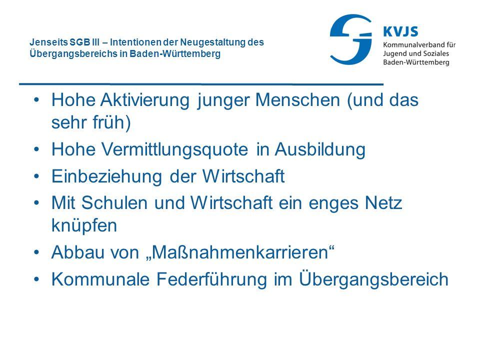 Jenseits SGB III – Intentionen der Neugestaltung des Übergangsbereichs in Baden-Württemberg Hohe Aktivierung junger Menschen (und das sehr früh) Hohe