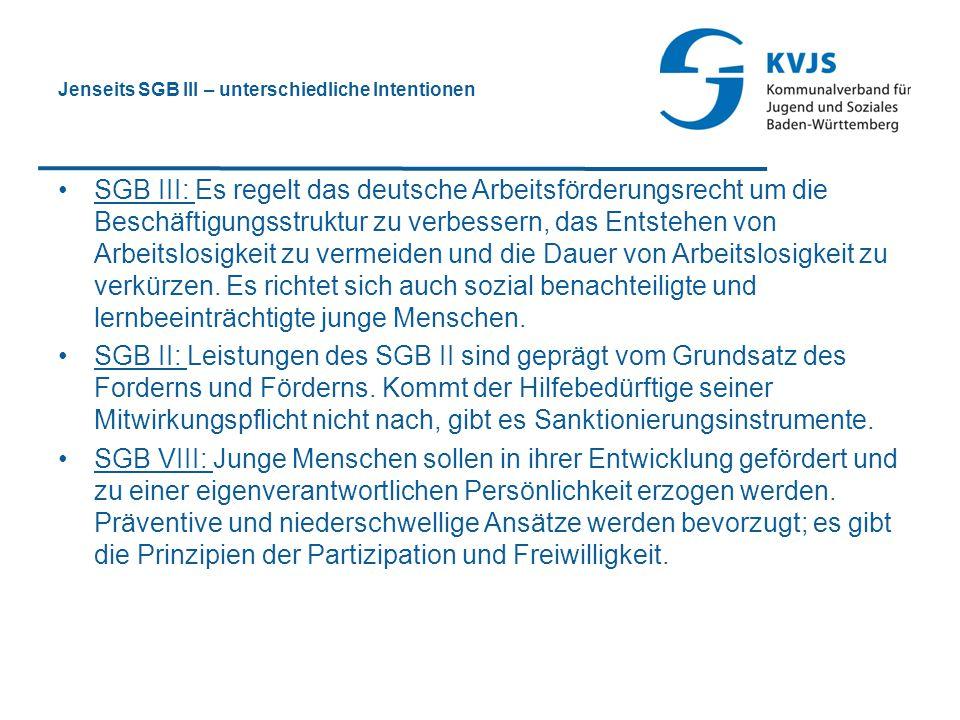 Jenseits SGB III – unterschiedliche Intentionen SGB III: Es regelt das deutsche Arbeitsförderungsrecht um die Beschäftigungsstruktur zu verbessern, da