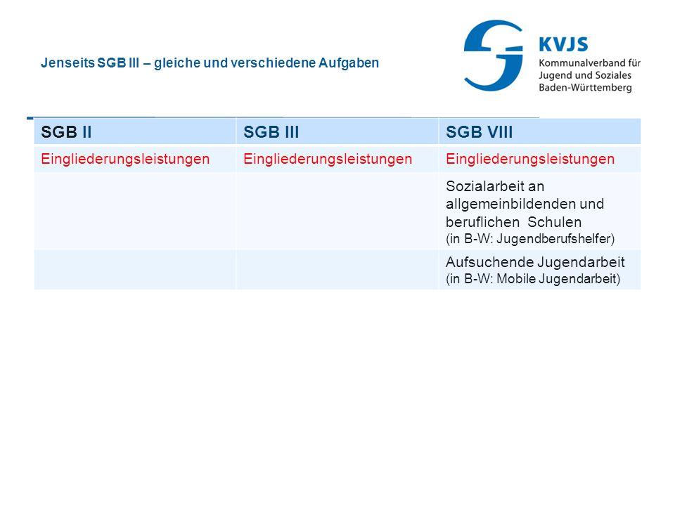Jenseits SGB III – gleiche und verschiedene Aufgaben SGB IISGB IIISGB VIII Eingliederungsleistungen Sozialarbeit an allgemeinbildenden und beruflichen