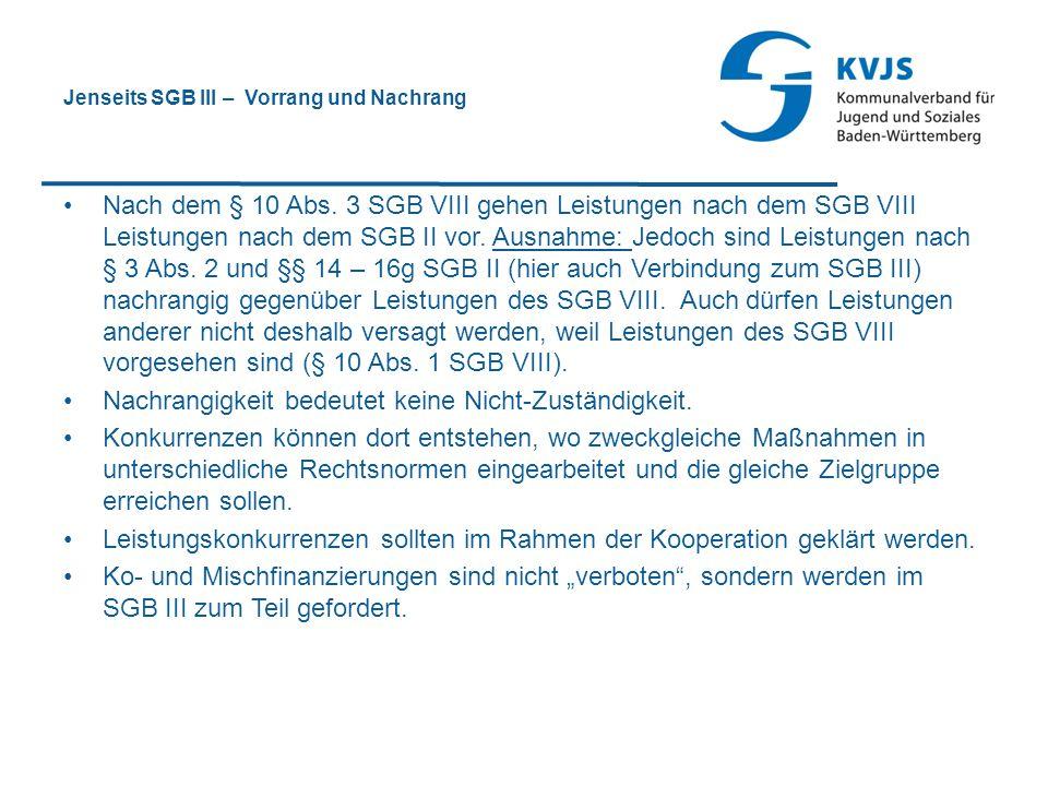Jenseits SGB III – Vorrang und Nachrang Nach dem § 10 Abs. 3 SGB VIII gehen Leistungen nach dem SGB VIII Leistungen nach dem SGB II vor. Ausnahme: Jed