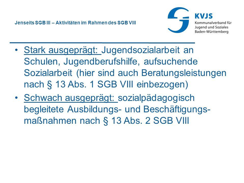 Jenseits SGB III – Aktivitäten im Rahmen des SGB VIII Stark ausgeprägt: Jugendsozialarbeit an Schulen, Jugendberufshilfe, aufsuchende Sozialarbeit (hi