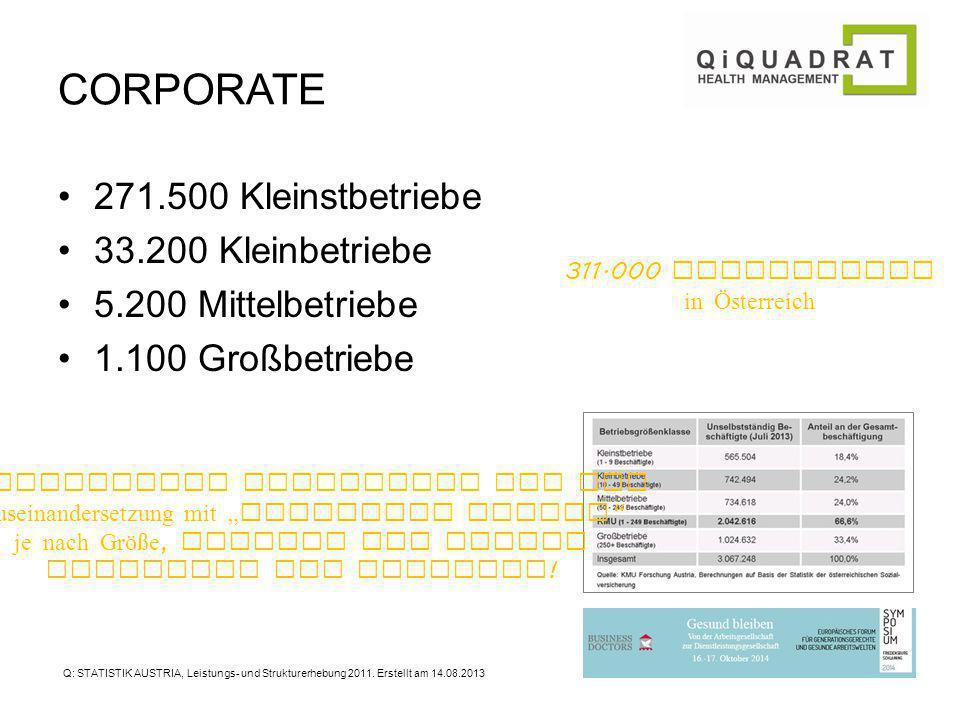 CORPORATE 271.500 Kleinstbetriebe 33.200 Kleinbetriebe 5.200 Mittelbetriebe 1.100 Großbetriebe Q: STATISTIK AUSTRIA, Leistungs- und Strukturerhebung 2011.