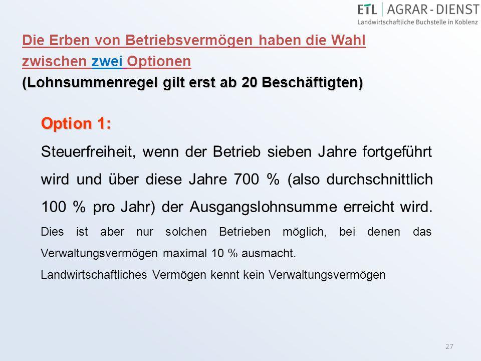 27 Option 1: Steuerfreiheit, wenn der Betrieb sieben Jahre fortgeführt wird und über diese Jahre 700 % (also durchschnittlich 100 % pro Jahr) der Ausg