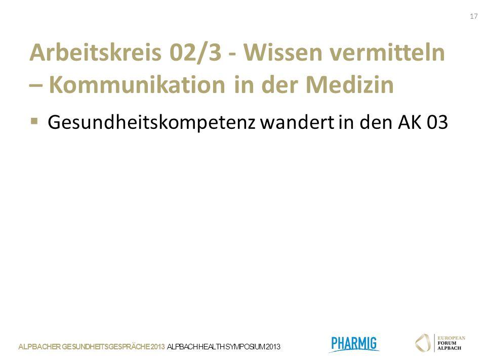 ALPBACHER GESUNDHEITSGESPRÄCHE 2013 ALPBACH HEALTH SYMPOSIUM 2013 Arbeitskreis 02/3 - Wissen vermitteln – Kommunikation in der Medizin  Gesundheitskompetenz wandert in den AK 03 17
