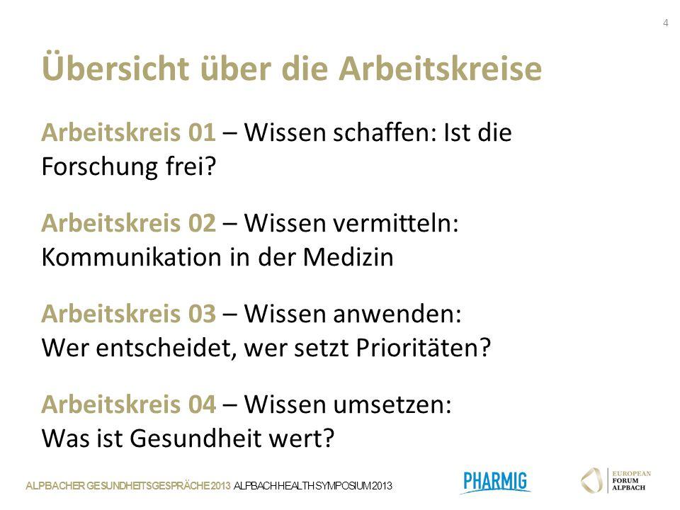 ALPBACHER GESUNDHEITSGESPRÄCHE 2013 ALPBACH HEALTH SYMPOSIUM 2013 Arbeitskreis 01 – Wissen schaffen: Ist die Forschung frei.