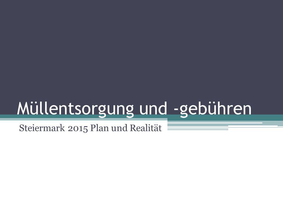 Plan im Jahr 2007 Steiermark strebt gebührenfreie Müllentsorgung ab 2015 an Abfallwirtschaft soll noch mehr Geld aus weggeworfenen Ressourcen lukrieren Gebührenfreies Entsorgen bis 2015 möglich, erklärte Umweltlandesrat Johann Seitinger (V) am Donnerstag in Graz (Mai 2007)