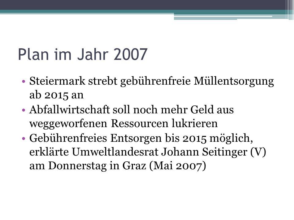 Plan im Jahr 2007 Steiermark strebt gebührenfreie Müllentsorgung ab 2015 an Abfallwirtschaft soll noch mehr Geld aus weggeworfenen Ressourcen lukriere