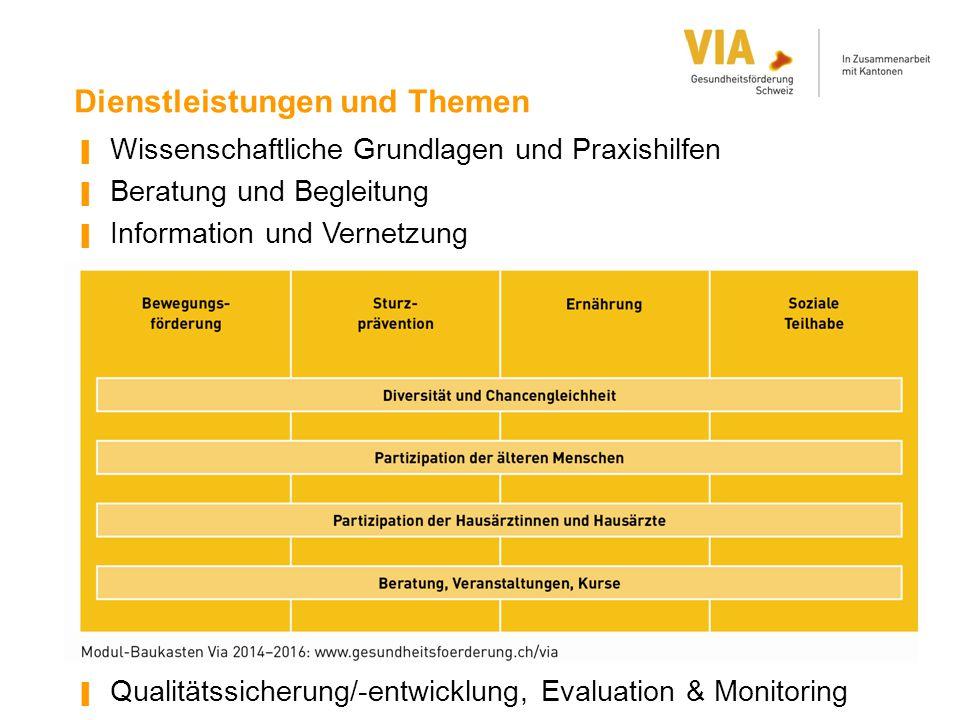 Dienstleistungen und Themen ▐ Wissenschaftliche Grundlagen und Praxishilfen ▐ Beratung und Begleitung ▐ Information und Vernetzung ▐ Qualitätssicherun