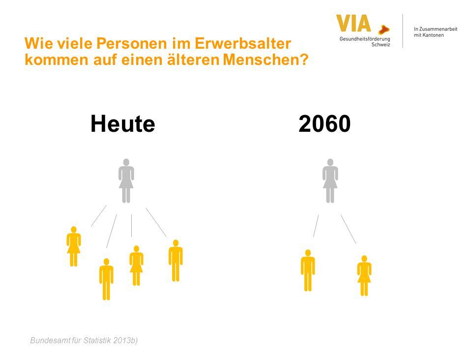 Wie viele Personen im Erwerbsalter kommen auf einen älteren Menschen? Heute 2060 Bundesamt für Statistik 2013b)