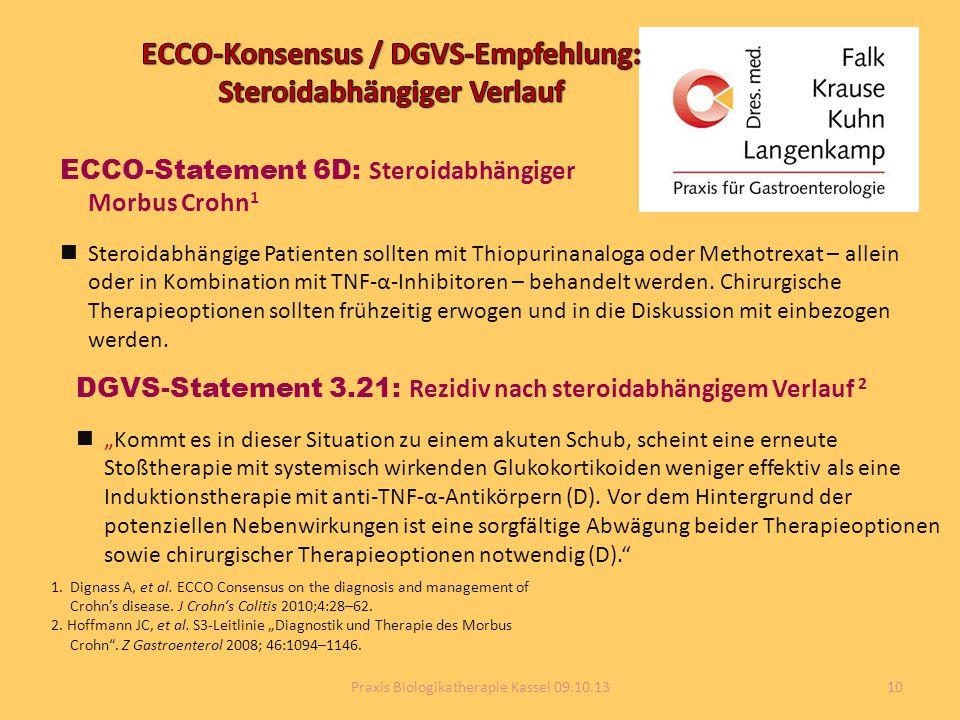 ECCO-Statement 6D: Steroidabhängiger Morbus Crohn 1 Steroidabhängige Patienten sollten mit Thiopurinanaloga oder Methotrexat – allein oder in Kombinat