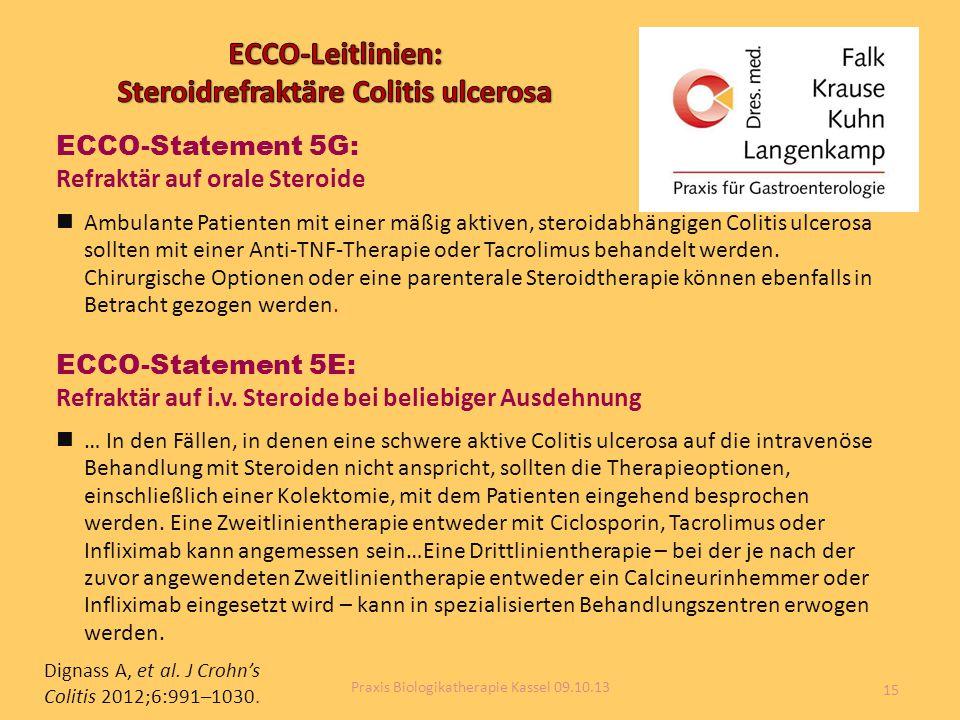 Dignass A, et al. J Crohn's Colitis 2012;6:991–1030. ECCO-Statement 5G: Refraktär auf orale Steroide Ambulante Patienten mit einer mäßig aktiven, ster