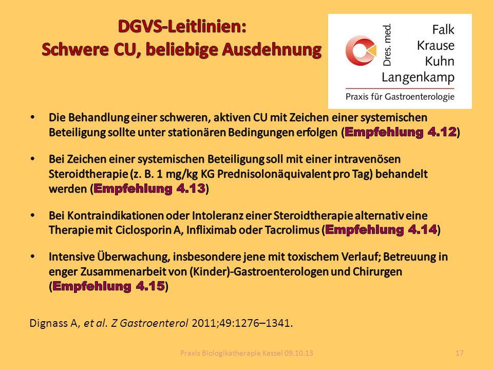 Dignass A, et al. Z Gastroenterol 2011;49:1276–1341. 17Praxis Biologikatherapie Kassel 09.10.13