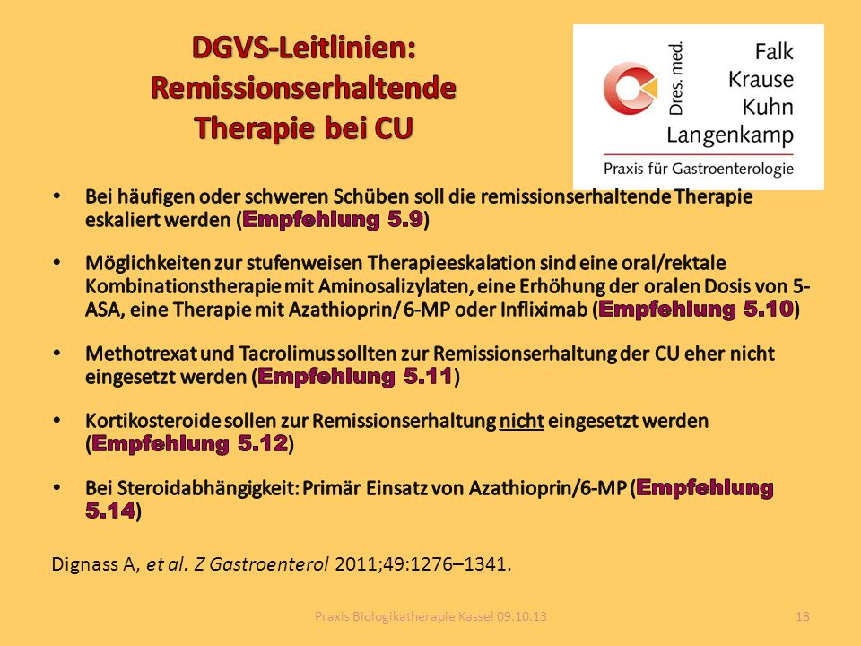 Dignass A, et al. Z Gastroenterol 2011;49:1276–1341. 18Praxis Biologikatherapie Kassel 09.10.13