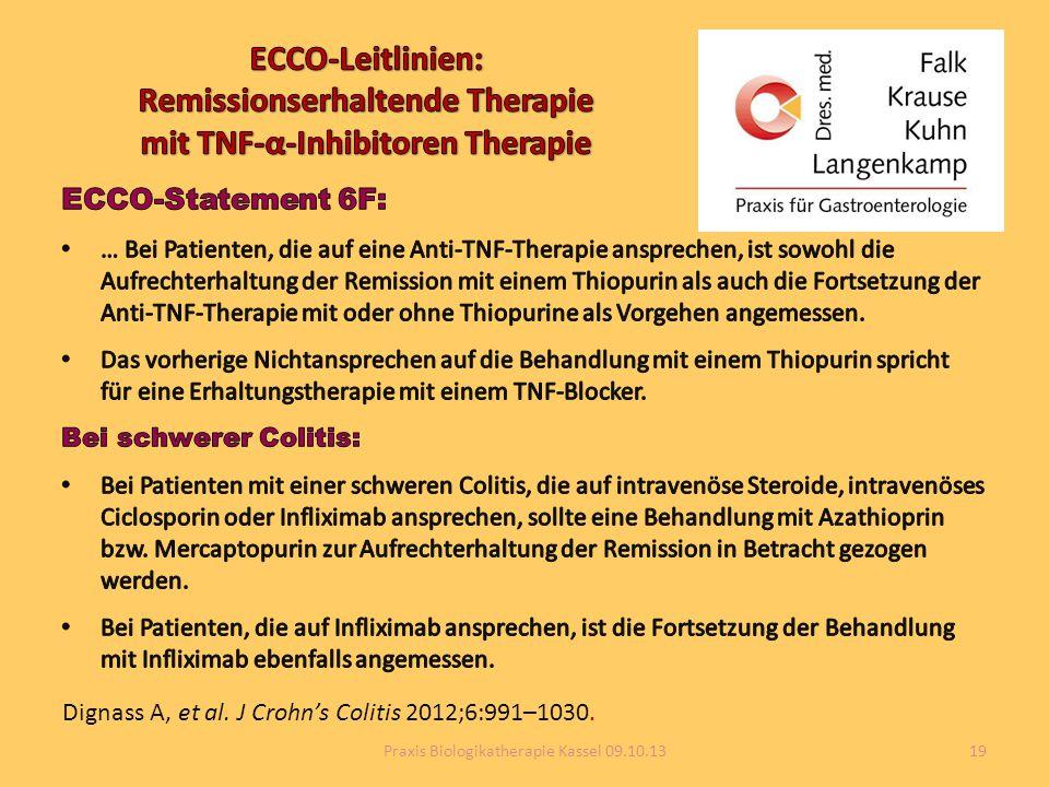 Dignass A, et al. J Crohn's Colitis 2012;6:991–1030. 19Praxis Biologikatherapie Kassel 09.10.13