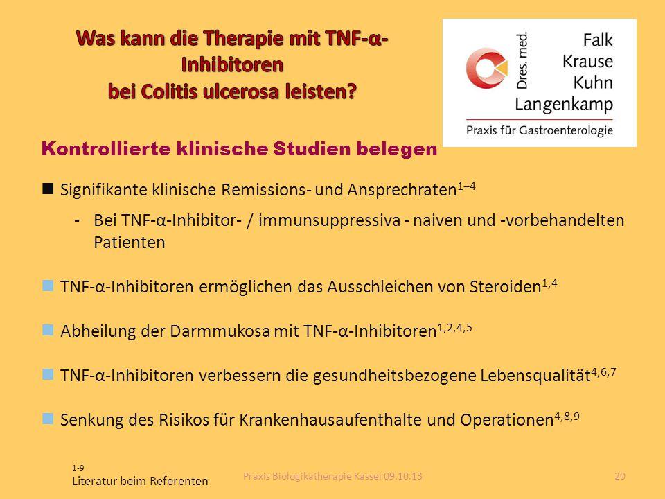 Kontrollierte klinische Studien belegen Signifikante klinische Remissions- und Ansprechraten 1‒4 -Bei TNF-α-Inhibitor- / immunsuppressiva - naiven und