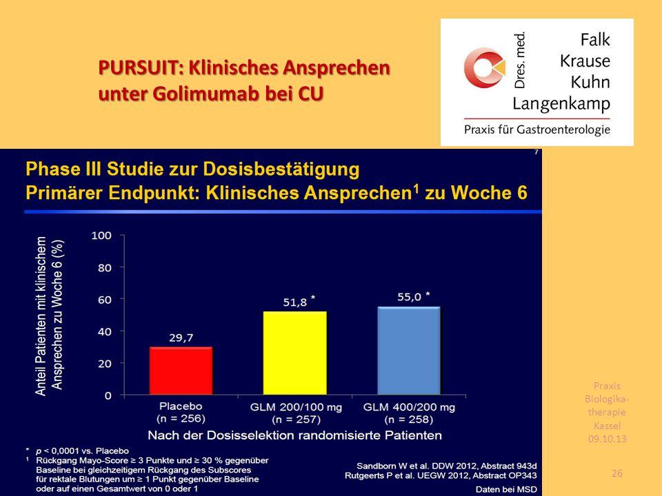 PURSUIT: Klinisches Ansprechen unter Golimumab bei CU 26 Praxis Biologika- therapie Kassel 09.10.13