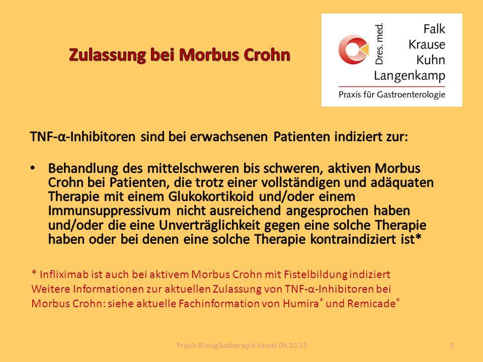 * Infliximab ist auch bei aktivem Morbus Crohn mit Fistelbildung indiziert Weitere Informationen zur aktuellen Zulassung von TNF-α-Inhibitoren bei Mor